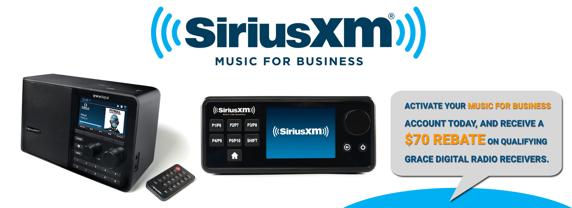 SiriusXM Music for Business Grace Digital Internet Radios