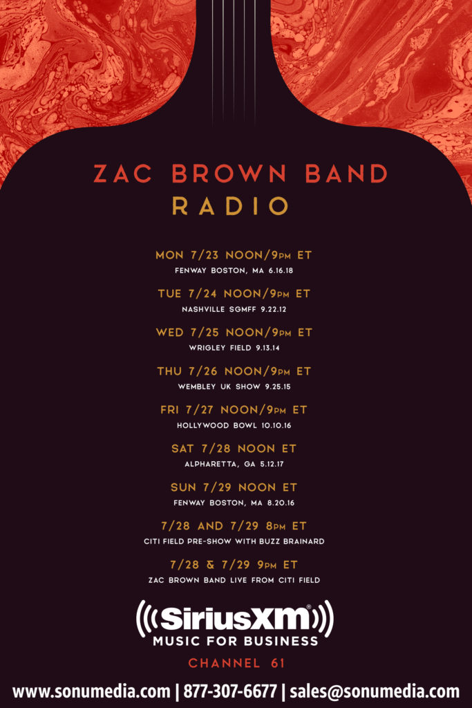 SiriusXM Zac Brown Band Live Y2Kountry 2018 Music for Business